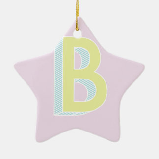 Alphabet Mauve B Ceramic Ornament
