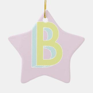 Alphabet Mauve B Ceramic Star Ornament