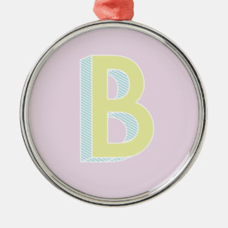 Alphabet Mauve B Metal Ornament