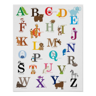Alphabet Nursery Wall Art, original drawings Poster