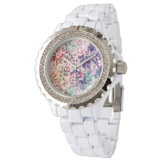 Alphabet Pastel Pattern Design Watch