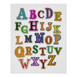Alphabet Patches Design Poster