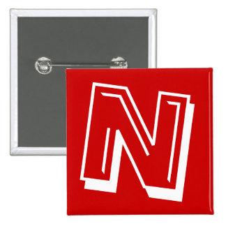 Alphabet Pin - Letter N - Red