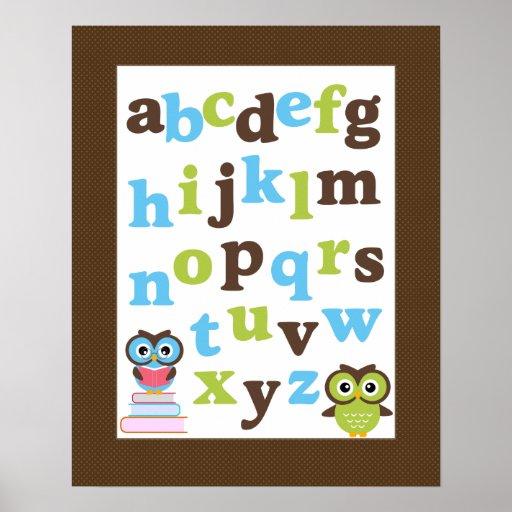 Alphabet Poster for Nursery Blue Green Owls
