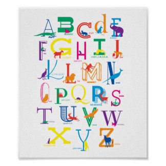 Alphabet Poster with Animal Silhouettes in Colour