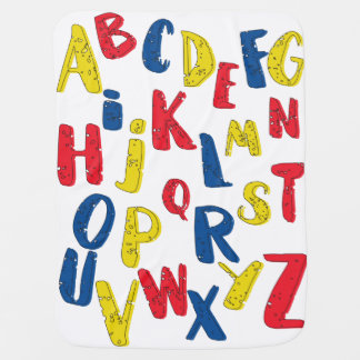 Alphabet primary color baby blanket