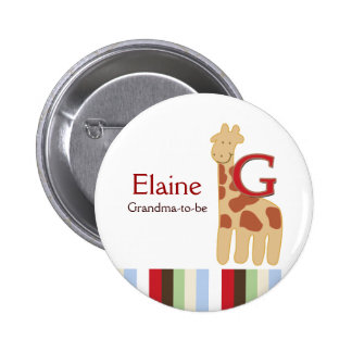 Alphabet Soup (Giraffe) NAME TAG Custom Button