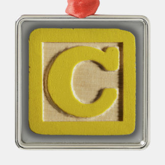 Alphabet Toy Block C Metal Ornament