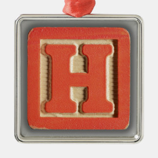 Alphabet Toy Block H Metal Ornament