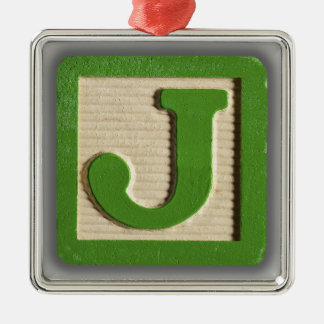 Alphabet Toy Block J Silver-Colored Square Ornament