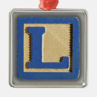 Alphabet Toy Block L Silver-Colored Square Ornament