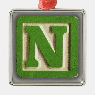 Alphabet Toy Block N Metal Ornament