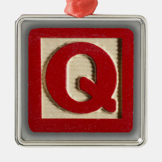 Alphabet Toy Block Q Metal Ornament