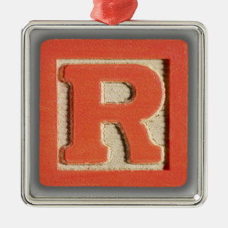 Alphabet Toy Block R Metal Ornament