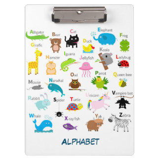 Alphabet with animal pictures and letters clipboards
