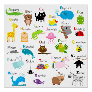 Alphabet with animal pictures and letters perfect poster