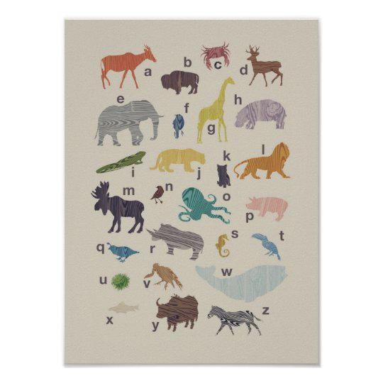 Alphabet Wood Grain Animal Poster