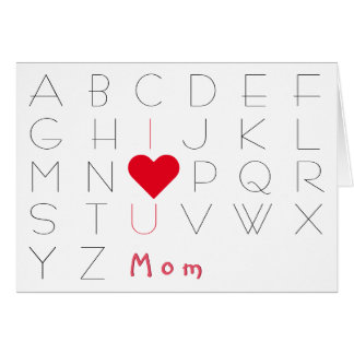 Alphabets I Love You Mom Birthday Mothers Day Card