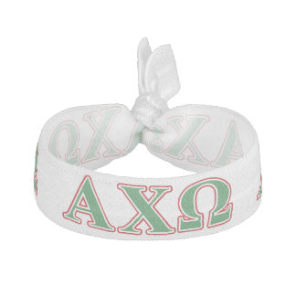Alphi Chi Omega Green and Red Letters Hair Tie