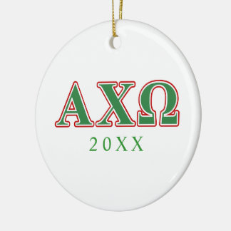 Alphi Chi Omega Green and Red Letters Round Ceramic Ornament