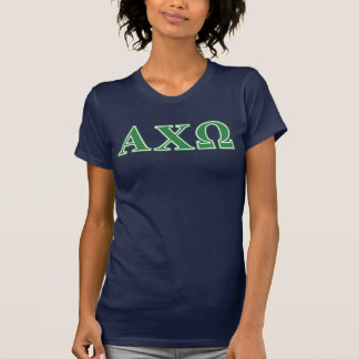Alphi Chi Omega Green Letters T-Shirt