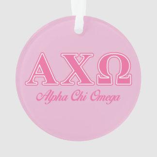Alphi Chi Omega Pink Letters Ornament