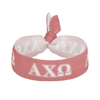 Alphi Chi Omega White and Red Letters Hair Tie