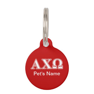 Alphi Chi Omega White and Red Letters Pet Name Tag