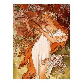 Alphons Mucha - The four season - Spring Postcard