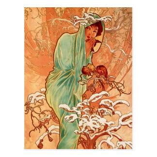 Alphons Mucha - The four season - Winter Postcard