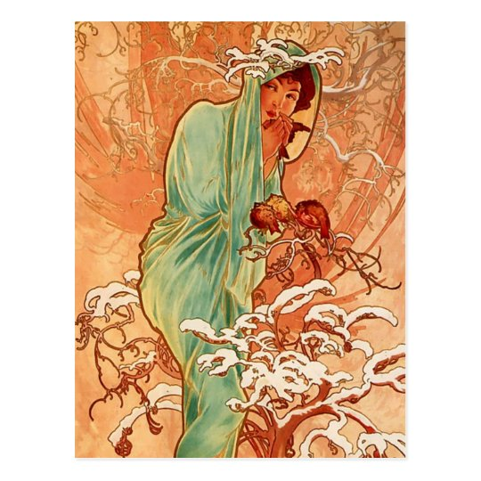 Alphons Mucha - The four season - Winter Postcard