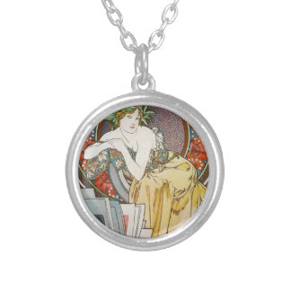 Alphonse Mucha 167 Silver Plated Necklace