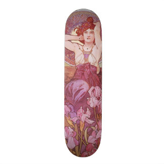 Alphonse Mucha Amethyst Art Nouveau Lady Vintage Skateboards