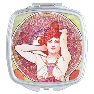 Alphonse Mucha Amethyst Floral Vintage Art Nouveau Mirrors For Makeup