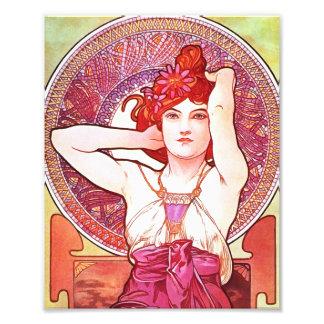 Alphonse Mucha Amethyst Floral Vintage Art Nouveau Photo Print