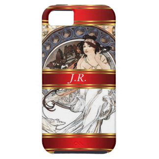 Alphonse Mucha and Red Add your initials iPhone 5 Cover
