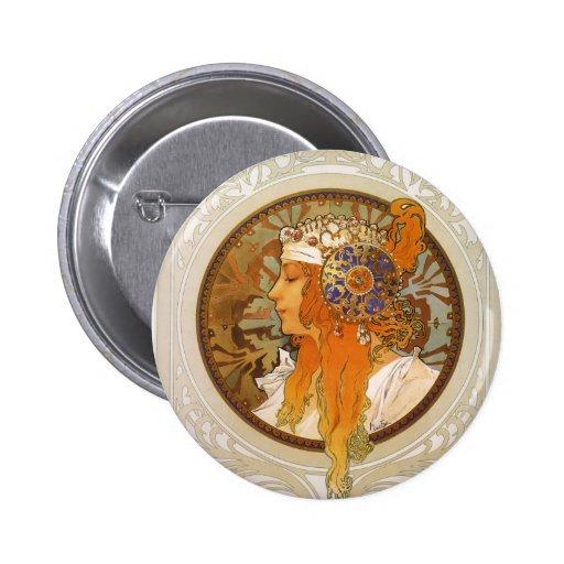 Alphonse Mucha Art Deco Pinback Buttons
