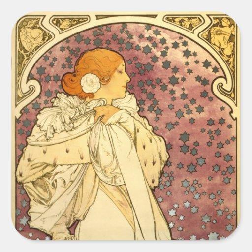 Alphonse Mucha Art Deco Square Sticker