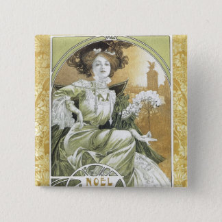 Alphonse Mucha - Art Nouveau 2 Inch Square Button