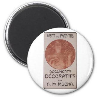 Alphonse Mucha ~ Art Nouveau ~ Documents Decoratif Magnet