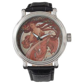 Alphonse Mucha Art Nouveau Lady Watch