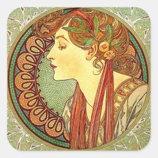 Alphonse Mucha Art Nouveau Sticker