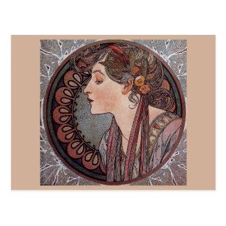 Alphonse Mucha art nouveau woman Laurel postcard