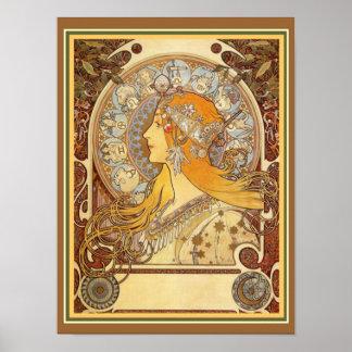 Alphonse Mucha Art Nouveau Zodiac Print 12 x 16