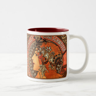 Alphonse Mucha Beautiful Art Nouveau Lady Mug/Cup Two-Tone Coffee Mug