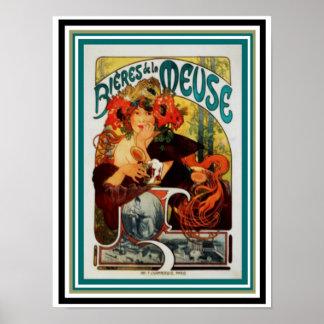 Alphonse Mucha Bieres de la Meuse  12 x 16 Poster