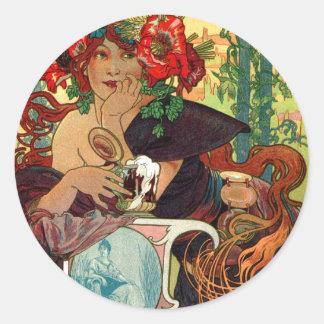 Alphonse Mucha Bieres De La Meuse Classic Round Sticker