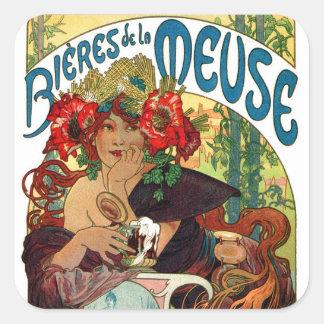 Alphonse Mucha Bieres De La Meuse Square Sticker
