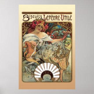 Alphonse Mucha Biscuits Lefevre Utile Poster