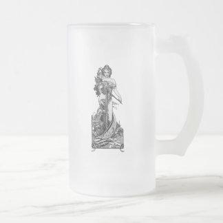 Alphonse Mucha Broken Blossoms Frosted Glass Beer Mug